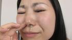フェチ:レズ:鼻フック観察からこよりで青鼻水垂らす香織ちゃん