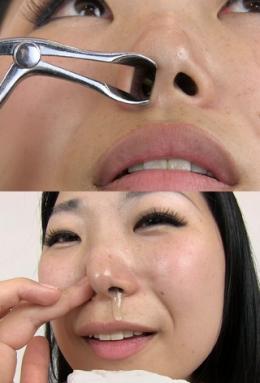 【鼻フック観察からこよりで青鼻水垂らす香織ちゃん】 綺麗な小鼻をお持ちの香織さんの鼻観察。鼻フックを装着させ、鼻穴までしっかり観察。鼻穴は黒々しい剛毛鼻毛で覆われています。最後はこよりでくしゃみをしてもらい鼻水を垂らす。青っぱなが口の中に入ってとても気持ち悪そうです。 宮永香織