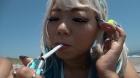 フェチ:レズ:主観でギャルレズカップルのタバコの煙を吐き掛けられる